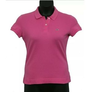 Lacoste Pink Fitted Collared Short Sleeve Polo 40